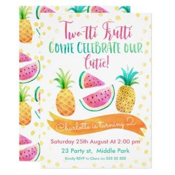 Girls Two-tti Frutti 2nd Birthday Invitation