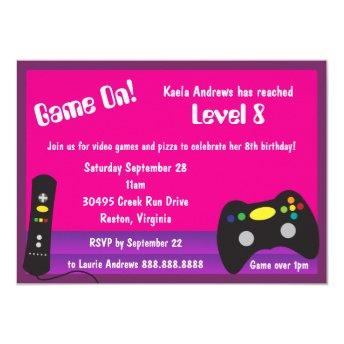 Girl's Video Game Truck Birthday Party Invitation