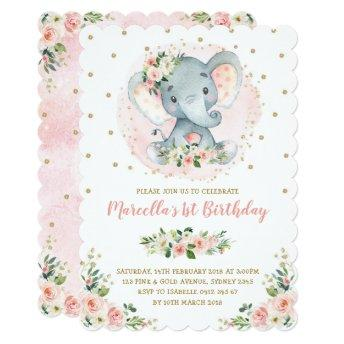 Girly Baby Elephant Peach Blush Gold 1st Birthday Invitation
