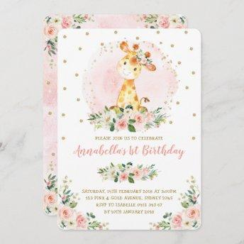 Girly Baby Giraffe Blush Gold Floral 1st Birthday Invitation