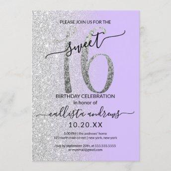 Girly Chic Lavender Silver Glitter Ombre Sweet 16 Invitation