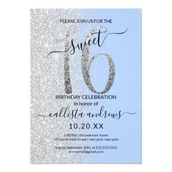 Girly Modern Blue Silver Glitter Ombre Sweet 16 Invitation