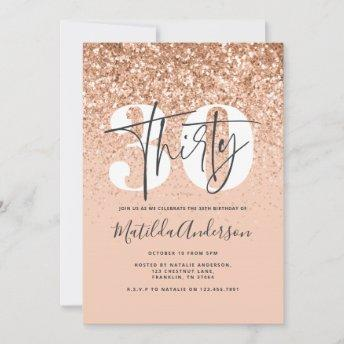 Girly modern peach glitter typography 30 birthday