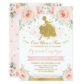Girly Princess Blush Pink Gold Floral Birthday Invitation