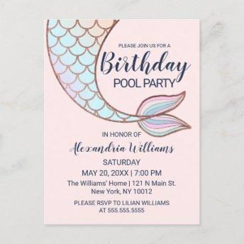 Girly Rose Gold Pink Mermaid Tail Pool Birthday Invitation PostInvitation