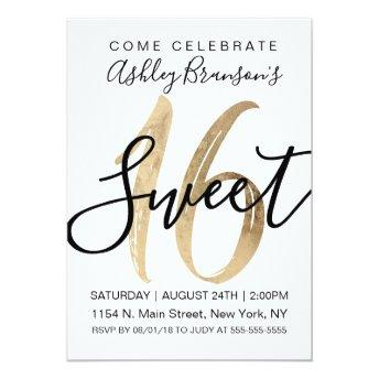 Girly White Faux Gold Foil Sweet 16 Invitation