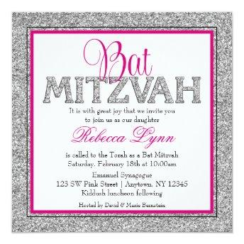 Glam Faux Glitter Silver Pink Bat Mitzvah