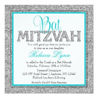 Glam Faux Glitter Silver Teal Blue Bat Mitzvah