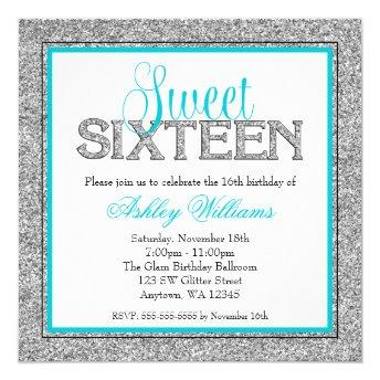 Glam Faux Glitter Silver Teal Blue Sweet 16
