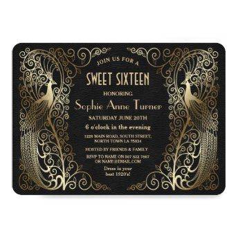 Glam Gold Art Deco Peacocks Sweet Sixteen Party Invitation