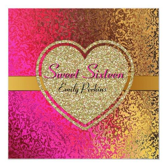 226 Glam Gold Pink Custom Sweet Sixteen Invitation