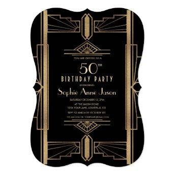 Glam Roaring 20's Great Gatsby 50th Birthday Party Invitation