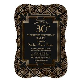 Glam Roaring 20's Great Gatsby Art Deco Birthday Invitation