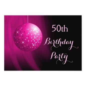 Glamorous 50th Birthday Hot Pink Party Disco Ball