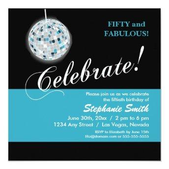 Glamorous Disco Ball 50th Birthday Party Invitation