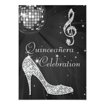 Glamorous Quinceañera Disco Ball and Sparkle Heels