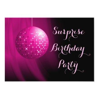 Glamorous Surprise Birthday Hot Pink Disco Ball Invitation