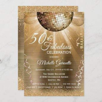 Glitter Glam 50 and Fabulous Gold Disco Ball Invitation