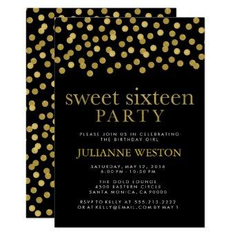 Glitter Gold & Black Confetti Sweet Sixteen Party