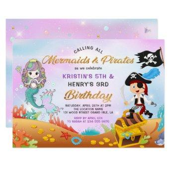 Glitter Mermaid And Pirate Under The Sea Birthday Invitation