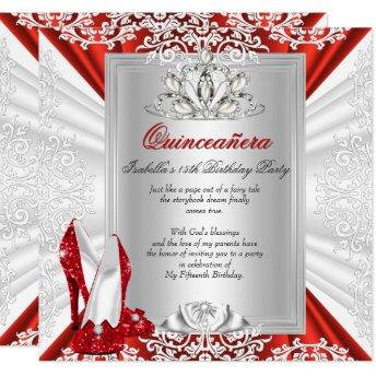 Glitter Quinceanera 15th Birthday Party Red Heels