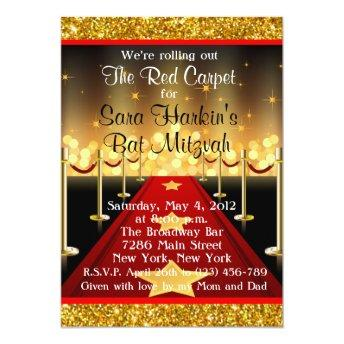 Glitter Red Carpet Hollywood Bat Mitzvah Invite