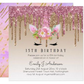 Glitter Unicorn Rose Gold Pink Dripping 13th Bday Invitation