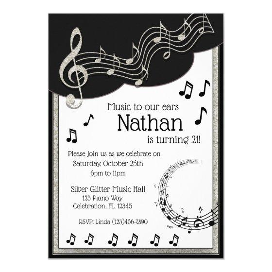 205 Glitzy Black White Musical Notes Birthday Invitation