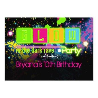 Glow in the dark neon paint party invitation