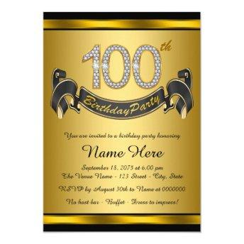 Gold 100th Birthday Party Invitation