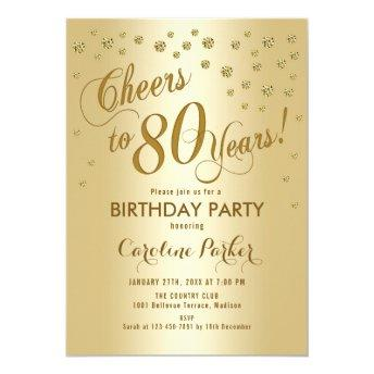 Gold 80th Birthday Party Invitation