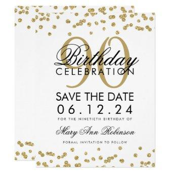 Gold 90th Birthday Save Date Confetti Invitation