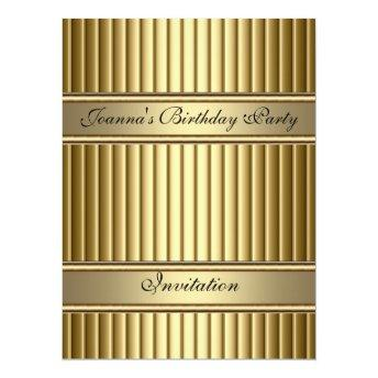 Gold Art Deco Birthday Party Invitation Gold