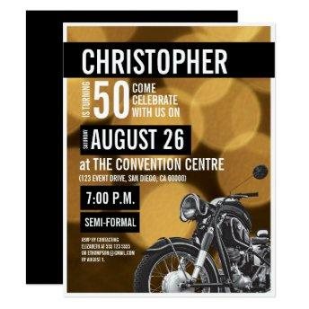 Gold black Modern Motorcycle theme 50th birthday Invitation