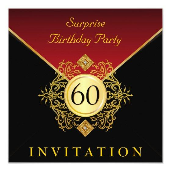 Gold Black Royal Red 60th Birthday Surprise Party Invitation