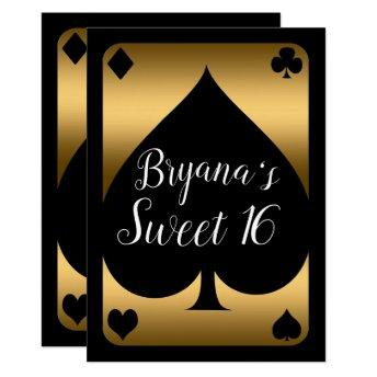 Gold & Black Spade Glam Casino Sweet 16 Party Invitation