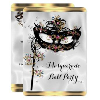 Gold Black White Masquerade Ball Party Mask Invitation