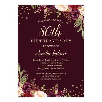 Gold Burgundy floral Sparkle 80th Birthday Party Invitation