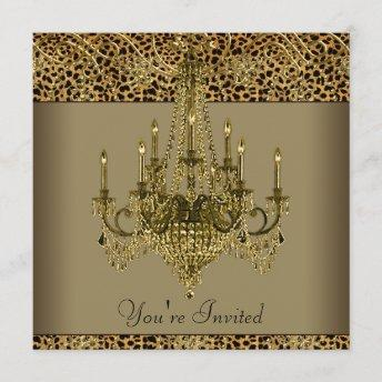 Gold Chandelier Leopard Party Invitation