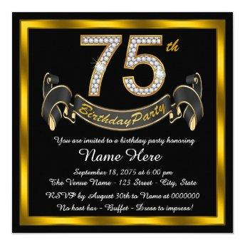 Gold Diamond 75th Birthday Party Invitation