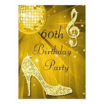Gold Disco Ball and Heels 60th Birthday Invitation