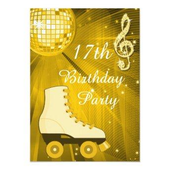 Gold Disco Ball and Roller Skates 17th Birthday Invitation