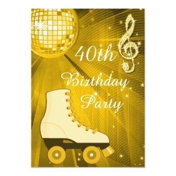 Gold Disco Ball and Roller Skates 40th Birthday Invitation