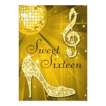 Gold Disco Ball and Sparkle Heels Sweet 16