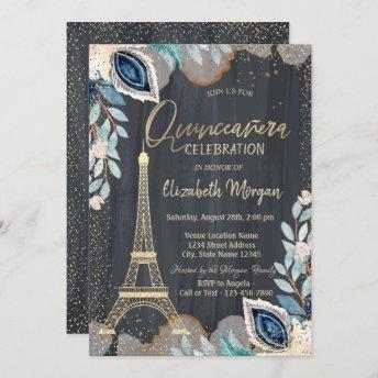 Gold Eiffel Tower,Flowers,Black Quinceañera Invitation