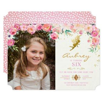 Gold Fairy Pink Floral Birthday Invitation