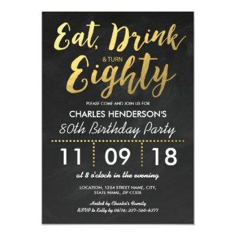 Gold Foil Chalkboard Eighty Birthday Party | 80TH