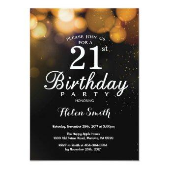 Gold Glitter 21st Birthday Invitation