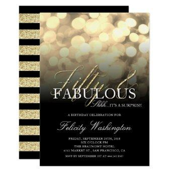 Gold Glitter 50 & Fabulous Surprise Birthday Party Invitation