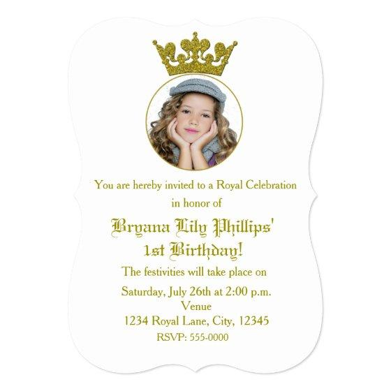 Gold Glitter Crown Royal Birthday Photo Birthday Party Invitations